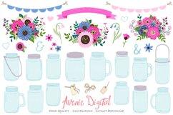 Pink and Navy Mason Jar Wedding Clipart Product Image 1