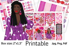 """Galentine's Day African American Stickers Box Size 2""""x1,5"""" Product Image 1"""