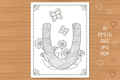 Letter U. Flowers. Coloring page. Product Image 1