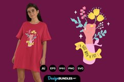 Hand and Flowers for T-Shirt Design Product Image 1
