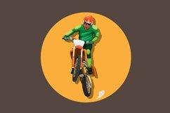 Motocross bike rider jumping pose mascot character vector Product Image 1