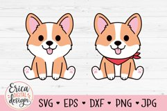 Baby Corgi SVG cut file Cute Puppy Sitting Dog with bandana Product Image 1