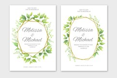 Green leaves wedding invitations set Product Image 4