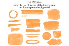 Orange watercolor washes clipart Orange Stains clipart Product Image 2