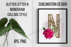 Gold lase letter N, Monogram collage, Sublimation design Product Image 1