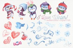 Cute watercolor Christmas penguins clipart Product Image 2