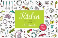 Vector set of kitchen utensils and food. Product Image 1