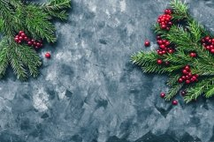 Christmas and New Year background with winter berries Product Image 1