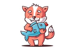 hungry cat is holding a big fish. fox angler. flat vector Product Image 1