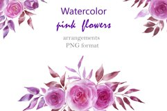 Watercolor pink flowers Product Image 1