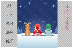 Santa Claus, Reindeer and Snowman watching the Fireworks. Product Image 3