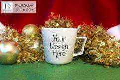 Christmas Mug Mockup, A White Cup Mock-Up for Xmas PSD & JPG Product Image 2