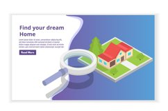 Real estate House on a map search isometric concept. Product Image 1