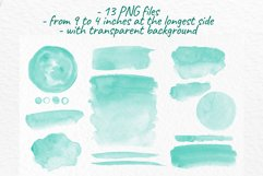 Turquoise watercolor washes clipart Wedding Invitation decor Product Image 3