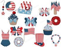 4th of July CLIPART Independence Day USA American Girl - PNG Product Image 2
