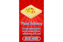 Pizza delivery concept banner, comics isometric style Product Image 1