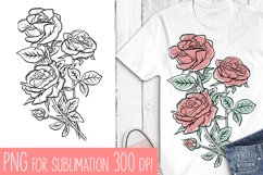 Flowers sublimation, hand drawn roses PNG Product Image 1