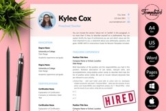 Teacher Resume CV Template for Word & Pages Kylie Cox Product Image 1