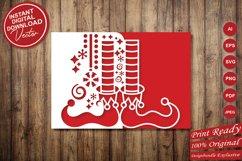 Papercut Elf Legs Card Cover, Christmas Invitation Design Product Image 5