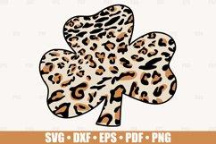 Leopard Shamrock SVG files for Cricut, Leopard Clover SVG Product Image 1