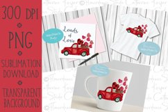 Valentines Day, Vintage Truck, Red Buffalo Plaid, Watercolor Product Image 2