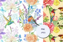 Peacocks Seamless Pattern,floral Watercolor Digital paper Product Image 4