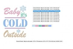 Baby It's Cold Outside Machine Embroidery Design 2 sizes Product Image 3