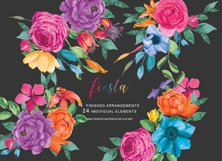 Watercolor Fiesta Floral Clipart  Product Image 1