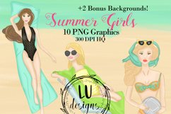 Summer Girls Clipart, Beach Clipart, Girl Illustrations Product Image 1