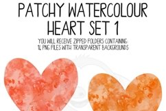 Patchy Watercolor Heart Clipart Set Product Image 2