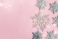 Christmas decor snowflakes with garland on pink background. Product Image 1