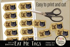 Alice in Wonderland Cheshire Cat Eat Me Printable Tags Product Image 2