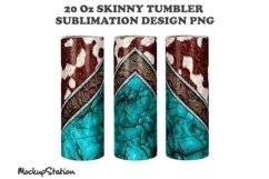 Cowhide 20oz Skinny Tumbler Sublimation Turquoise Design PNG Product Image 2