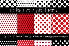 Red Polka Dot Patterns - Red & Black Polka Dot Backgrounds Product Image 1