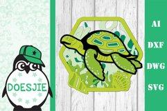 Sea turtle layered multi layer mandala sea nautical 3d svg Product Image 8