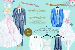 Watercolor wedding outfit on hangers and cloth hooks Product Image 1
