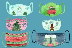 Christmas face mask clipart, Watercolor clip ar Product Image 2
