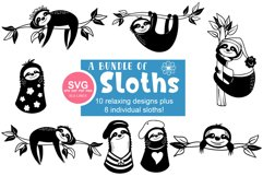Sloth SVG Bundle - Relaxed & Fun Sloths PNGs Product Image 13