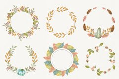 Watercolor autumn wreath. Isolated cliparts Product Image 3