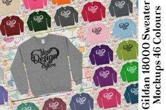 Gildan Sweatshirt Mockup 18000 Mock Up Black White Grey 942 Product Image 1