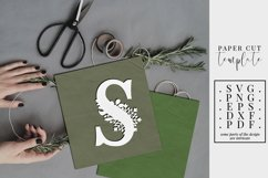 Winter letter S, single initial paper cut, snowflakes SVG Product Image 1