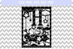 Nursery H SVG Cut File, Monogram Papercut, Paper Art DXF PDF Product Image 1