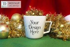 Christmas Mug Mockup, A White Cup Mock-Up for Xmas PSD & JPG Product Image 1