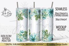20oz Skinny Tumbler PNG Sublimation Blue Flowers Watercolor Product Image 1