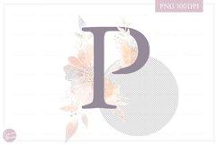 Letter P Floral MONOGRAM - elegant wedding flower initial Product Image 2