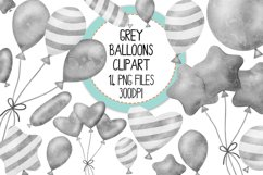 Grey Watercolor Balloon Clipart Set Product Image 1