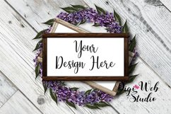 Flat Lay Wood Signs Mockup - Rectangle Wood Frames on Wreath Product Image 1