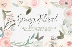 Spring Floral Watercolor Clipart Set Product Image 1