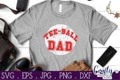 Tee Ball Svg, Tee Ball Dad SVG, Sports Cut File, Grunge Ball Product Image 2