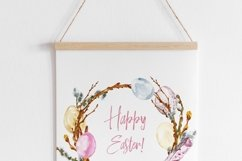 Watercolor Easter Spring Floral Wreath Eggs Clipart Product Image 4